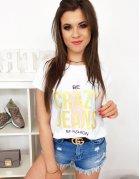Biele dámske tričko Crazy Jeans s potlačou