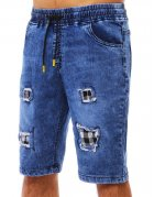Tmavomodré pánske kraťasy s džínsovým vzhľadom