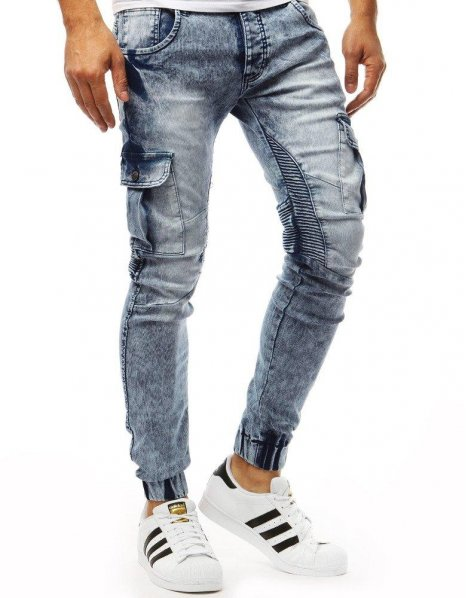 Modré pánske nohavice