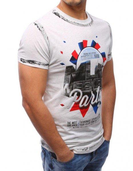 Pánske šedé tričko s potlačou