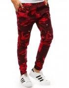 Červené pánske maskáčové jogger nohavice