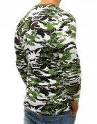 Zelené pánske maskáčové tričko s potlačou a dlhým rukávom