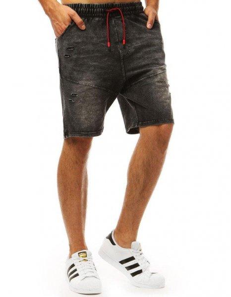 Čierne pánske teplákové nohavice s džínsovým vzhľadom