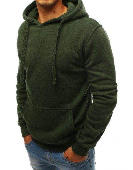 Khaki pánska mikina s kapucňou