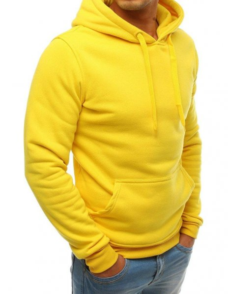 Žltá pánska mikina s kapucňou