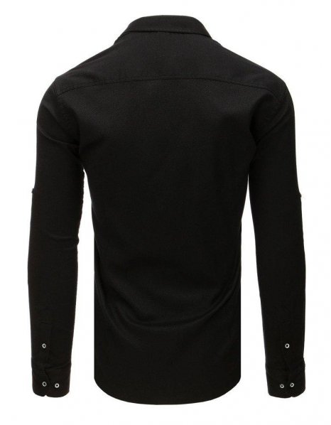 Čierna pánska košela s dlhým rukávom