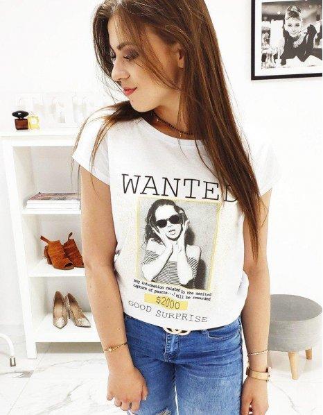 Dámske biele tričko Wanted s potlačou