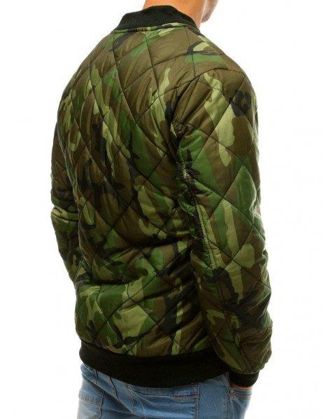 Zelená maskáčová prešívaná bomber bunda