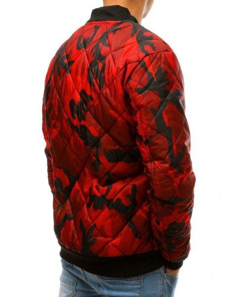 Červená maskáčová prešívaná bomber bunda