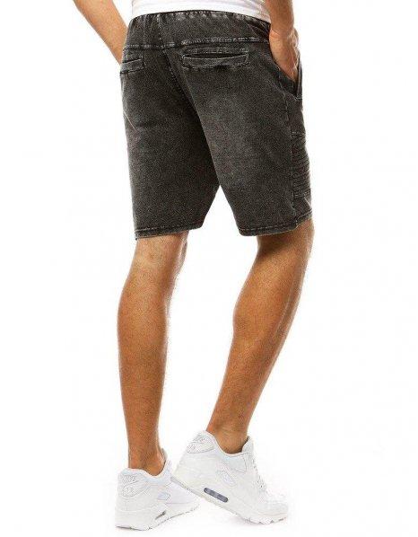 Čierne pánske kraťasy s džínsovým vzhľadom