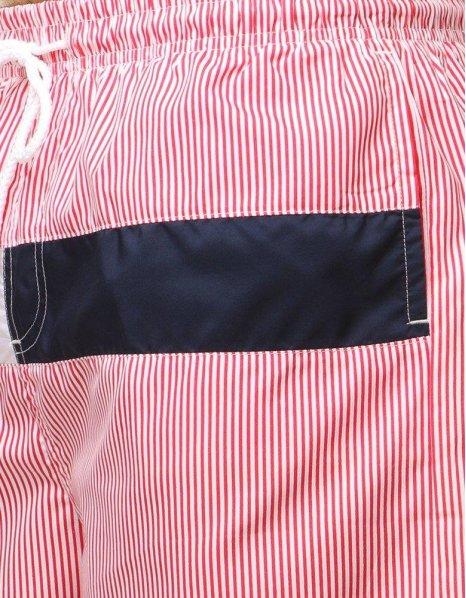 Červené pásikavé krátke nohavice