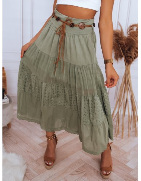 Khaki maxi sukňa val