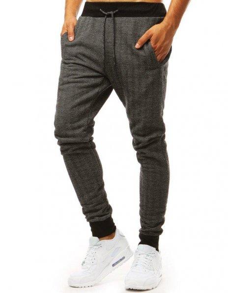 Šedé pánske teplákové jogger nohavice