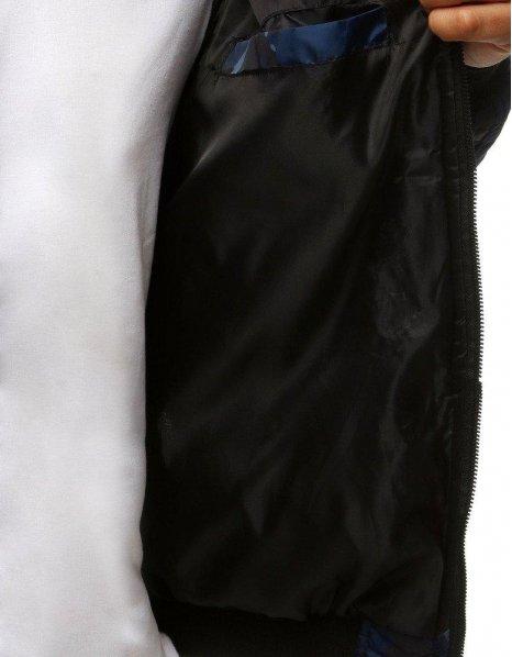Tmavomodrá maskáčová pánska prešívaná bomber bunda