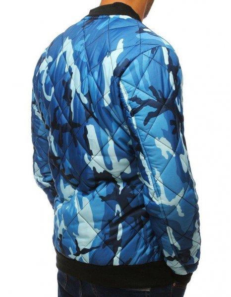 Maskáčová modrá pánska prešívaná bomber bunda