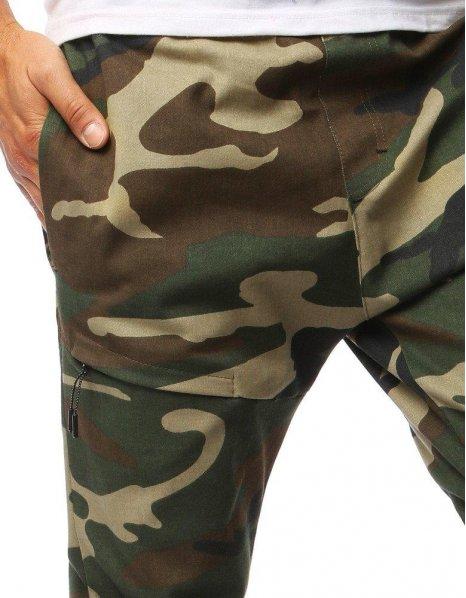 Zelené pánske maskáčové jogger nohavice