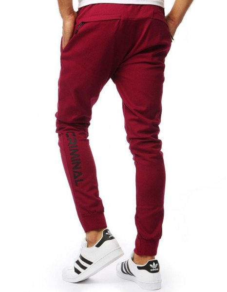 Bordové pánske jogger nohavice