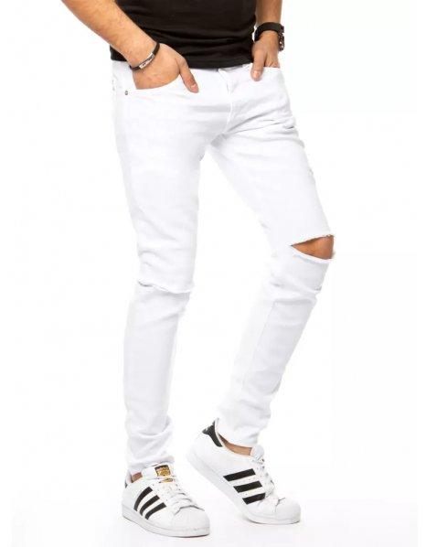 Biele pánske džínsové nohavice