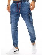 Modré pánske džínsové nohavice typu jogger
