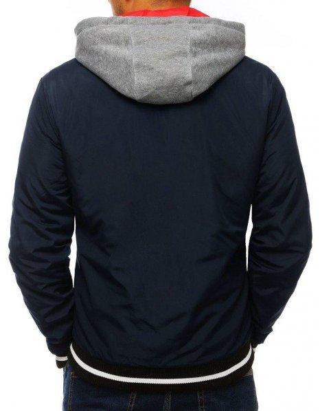 Dvojvrstvová pánska bunda s kapucňou tmavomodrá