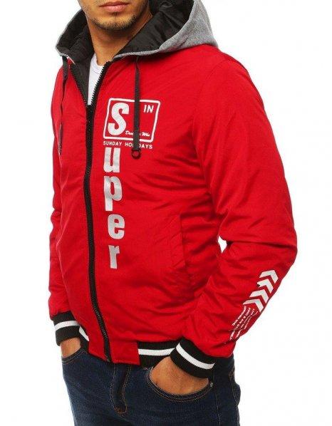 Dvojvrstvová pánska bunda s kapucňou červená