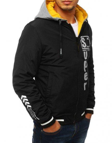Dvojvrstvová pánska bunda s kapucňou čierna
