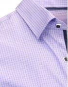 Fialová pánska kockovaná košeľa s dlhými rukávmi