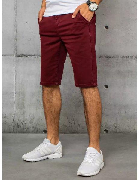 Bordové pánske džínsové kraťasy