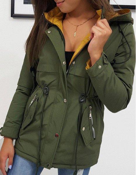 Zelená dámska obojstranná bunda Olivia
