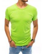 Zelené pánske tričko bez potlače do V