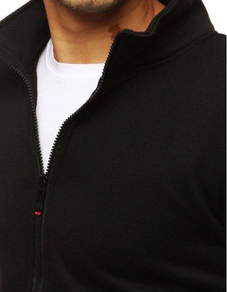 Čierna pánska mikina bez kapucne a zipsom