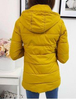 Dámska zimná prešívaná tmavomodrá bunda s kapucňou