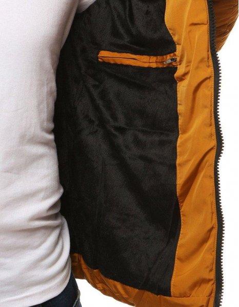 Horčicová pánska prešívaná bunda s kapucňou