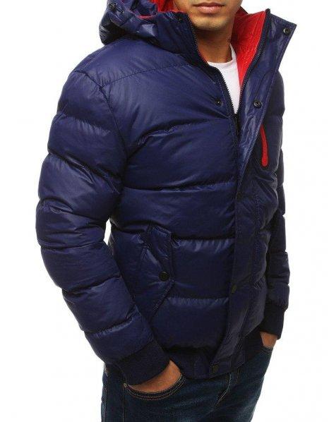 Tmavomodrá prešívaná pánska bunda s kapucňou