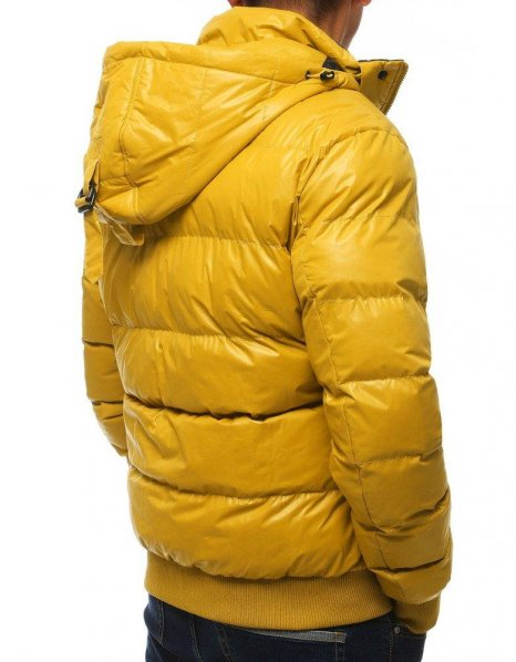 Žltá prešívaná pánska bunda s kapucňou