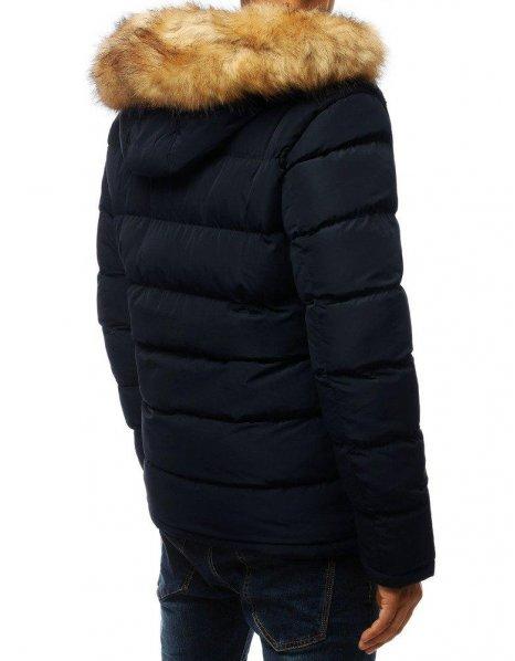 Tmavomodrá pánska zimná prešívaná bunda s kapucňou