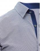 Tmavomodro-biela pánska kockovaná košeľa s dlhými rukávmi