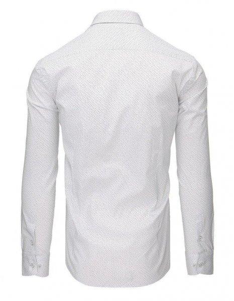 Biela pánska košeľa so vzorom a dlhými rukávmi