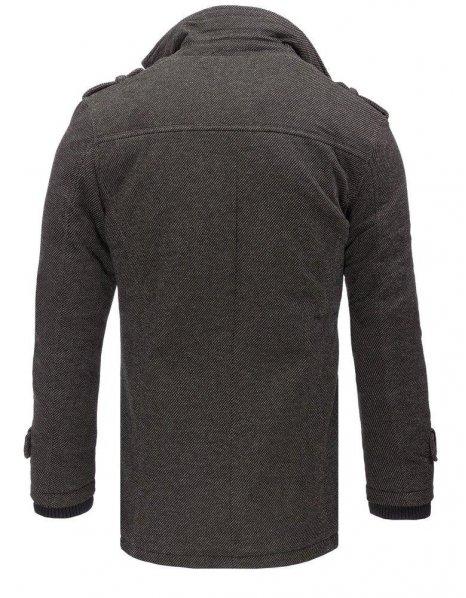 Šedý pánsky kabát so vzorom