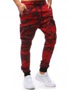 Pánske červené maskáčové jogger nohavice