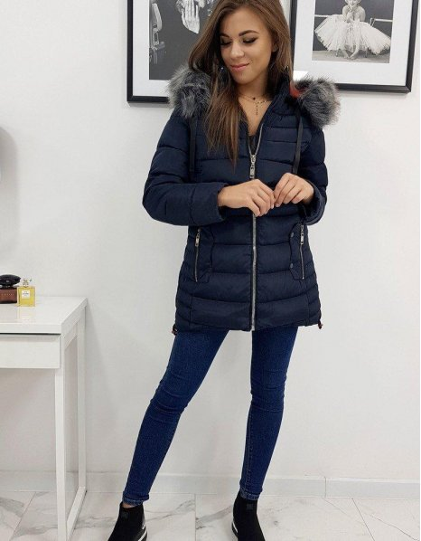 Zimná prešívaná dámska bunda Colin tmavomodrá