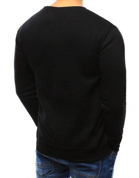 Čierna pánska mikina bez kapucne