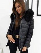 Dámska prešívaná čierna zimná bunda Sara