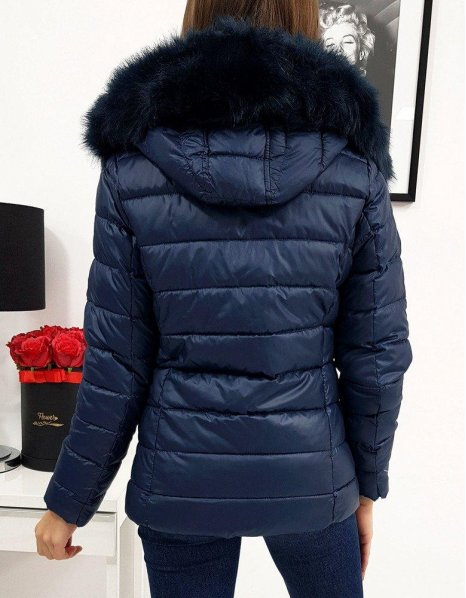 Dámska prešívaná bunda Estella zimná tmavomodrá