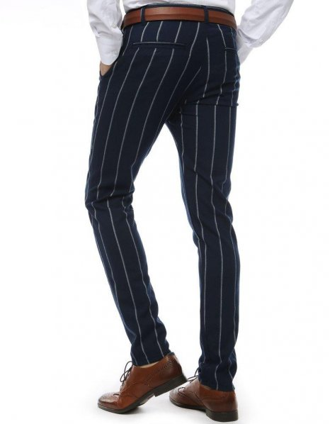 Pánske nohavice tmavomodré s pásikmi