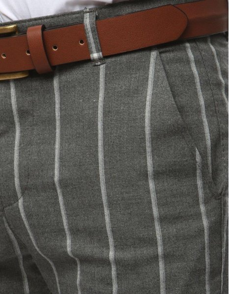 Pánske nohavice tmavošedé s pásikmi
