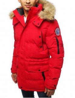 Červená zimná bunda s kontrastným zipsom