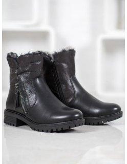 Čierne dámske trekové topánky