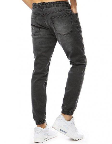 Antracitové pánske džínsové jogger nohavice