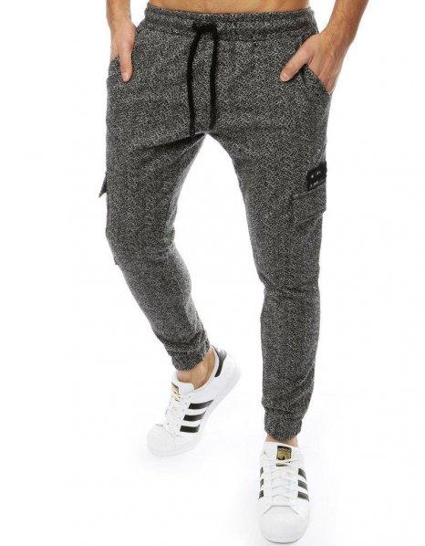 Tmavošedé pánske jogger nohavice